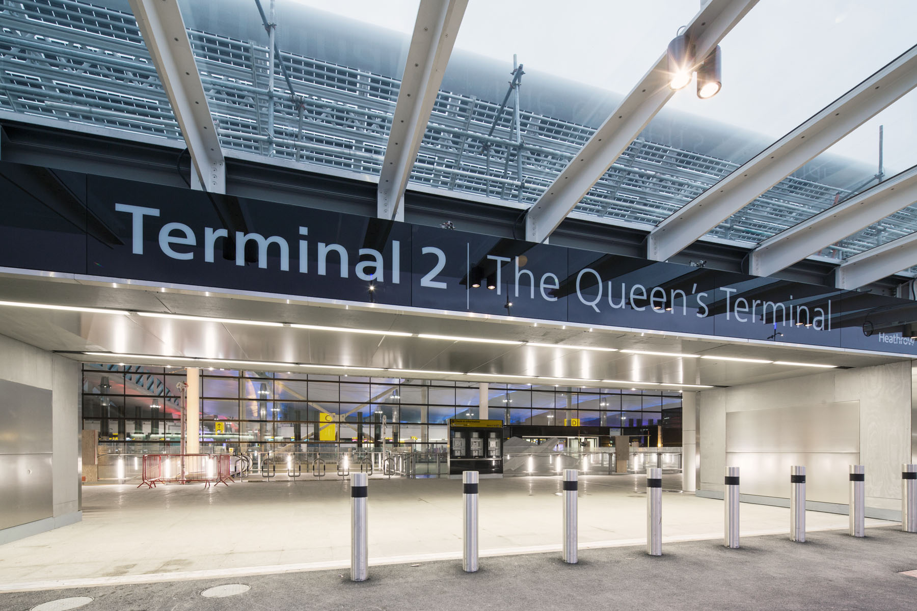 Heathrow, Terminal 2A, top level entrance from vehicle drop-off point, nearing completion, 30 January 2014.